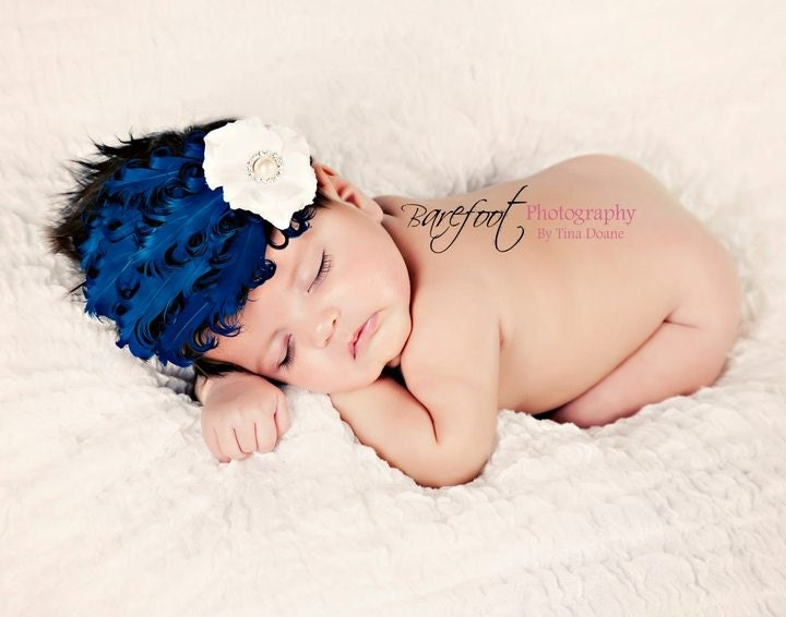 Blue Layered Feathers White Small Flower on Elastic White Headband for Newborns Infants Toddlers Girls Adults of all ages. Photography Prop