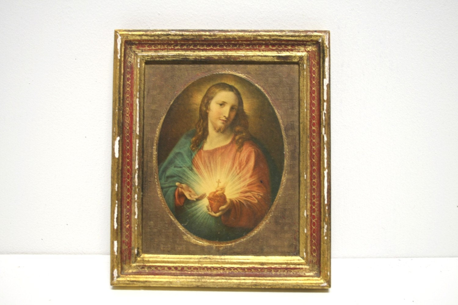 Antique Italian Florentine Gold Gilded Wood Religious Portrait