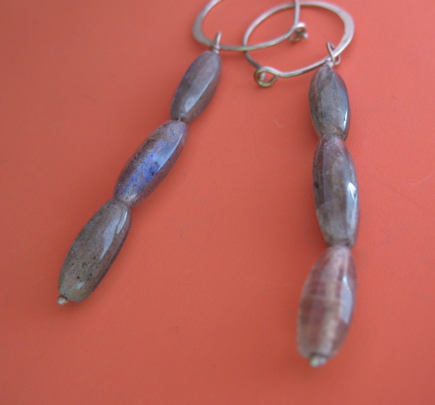 SALE Silver Hoops with Labradorite