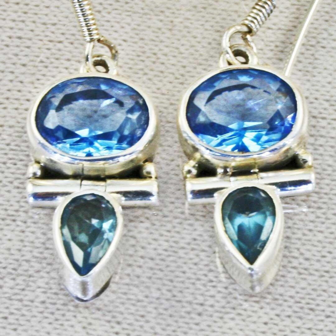 Handmade Sky Blue Topaz Earrings