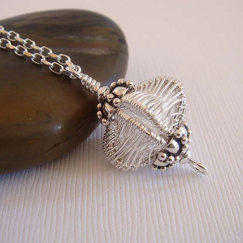 Arabian Lantern wire wrapped Necklace in sterling silver
