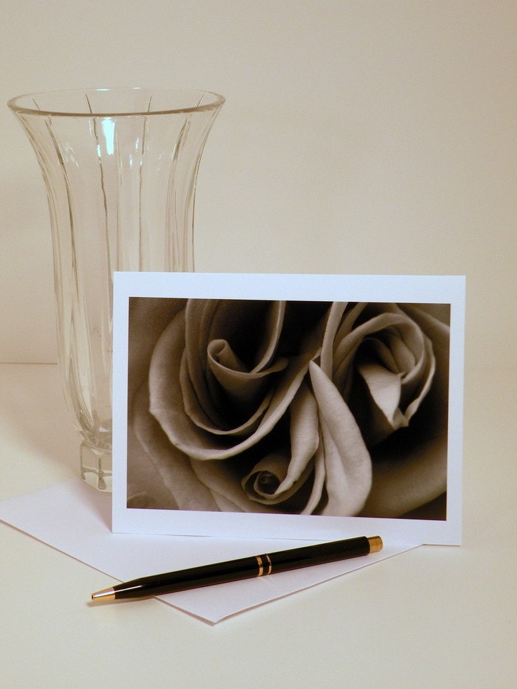 Rose Scrolls- Handmade Note Card