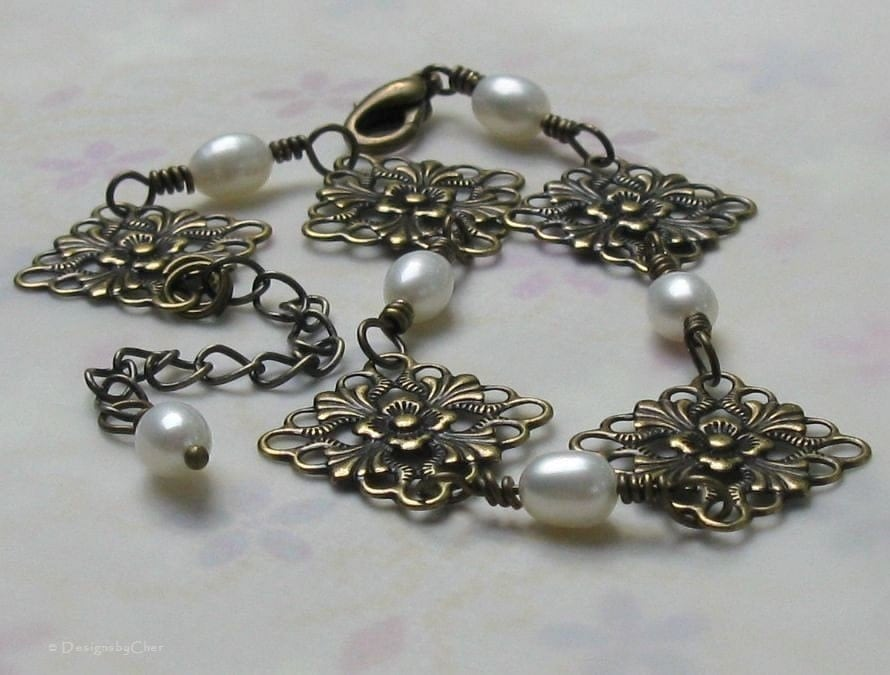 Antique Brass Filigree Pearl Bracelet  Vintage by designsbycher from etsy.com