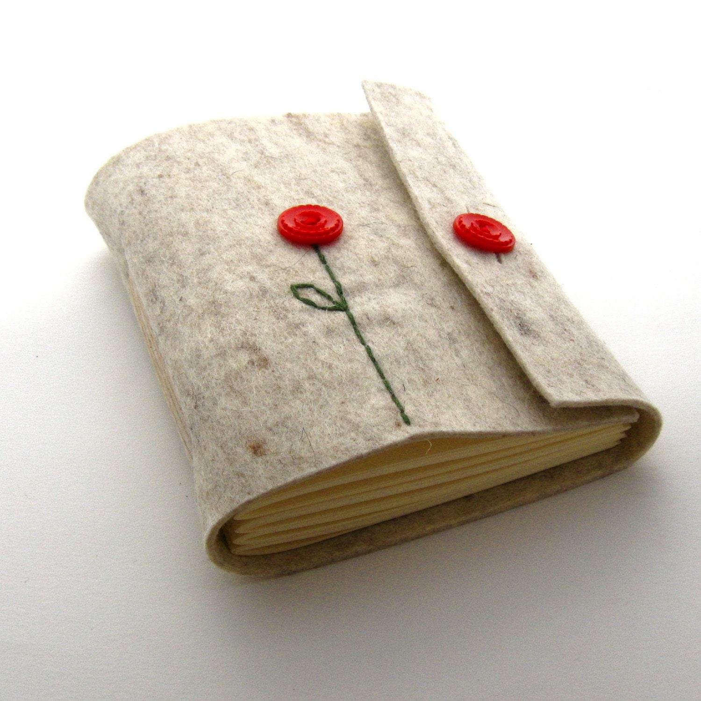 Handmade Felt Button Up Poppy Journal