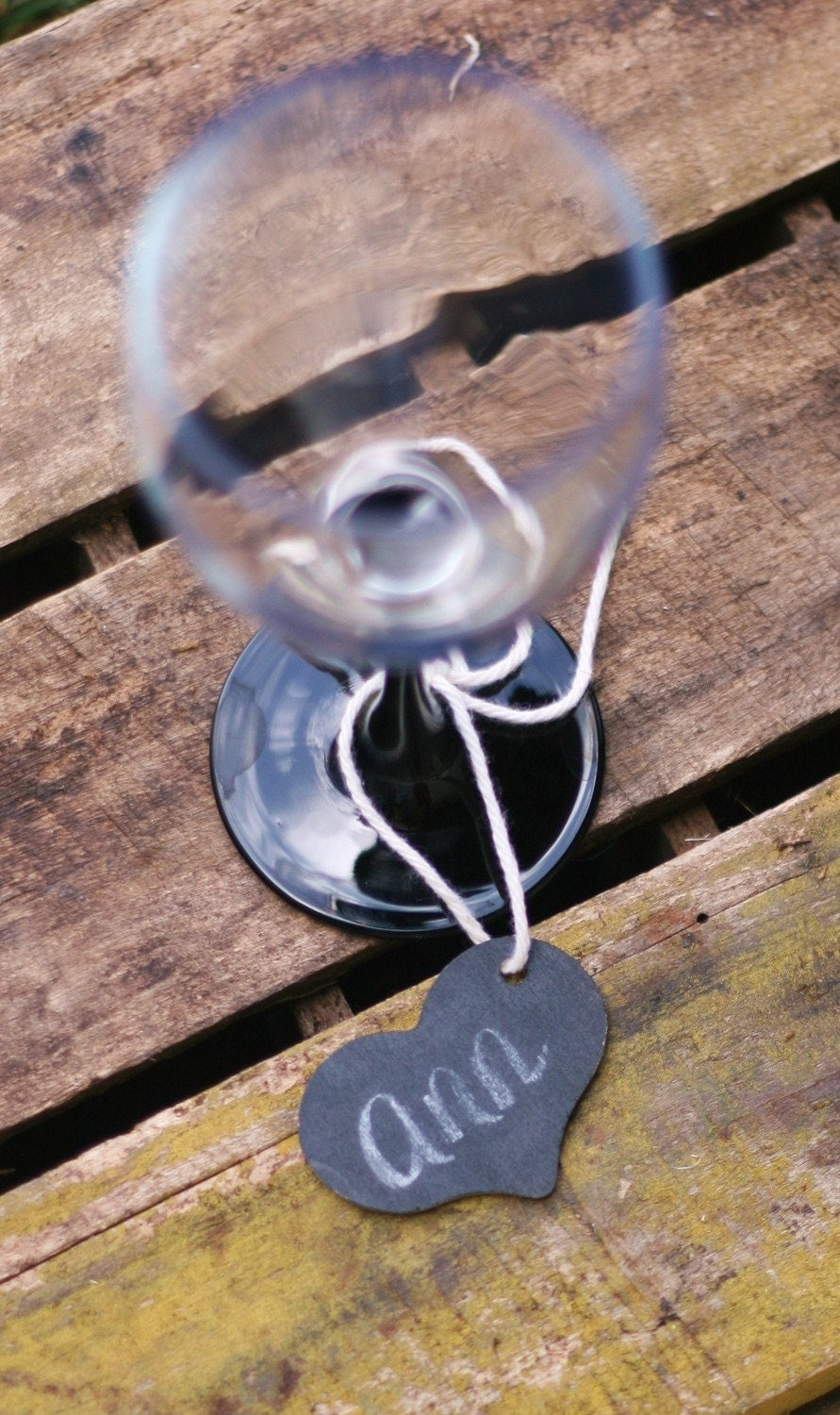 Personalized Woodland Rustic Western Heart Place Card Holder Favor Wine Charm With Chalkboard Back Cottage CHIC