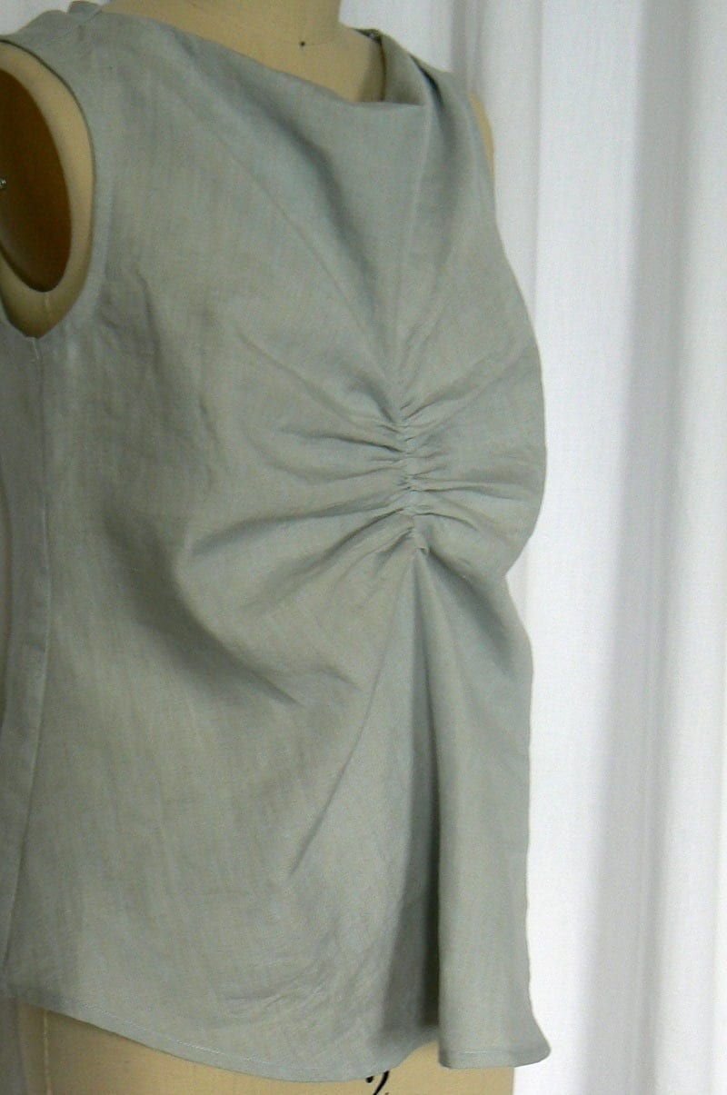 Sleeveless Gathered Front Top - Linen - Sz XS - ON SALE