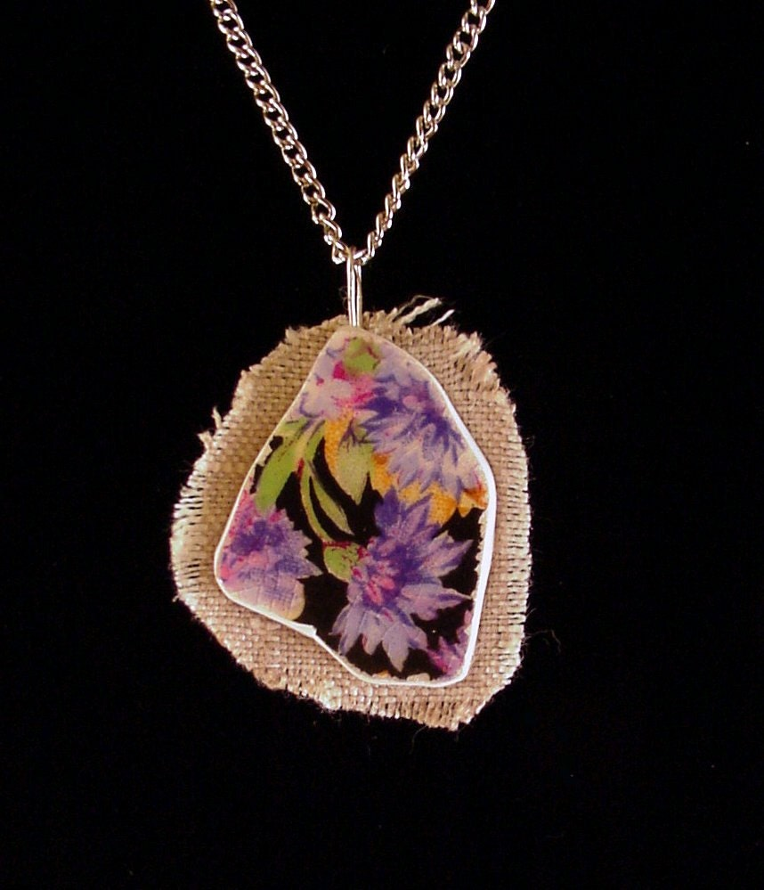 Broken china jewelry shard and linen pendant necklace antique Royal Winton Majestic chintz