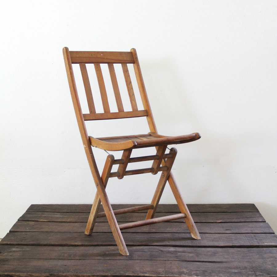 Vintage Wood Folding Chair Camp Chair Slat Wood Chair By 86home