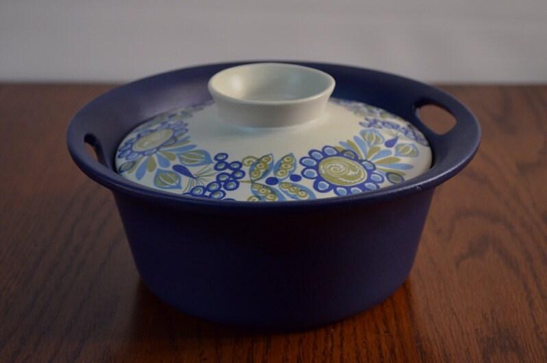 Vintage Figgjo Flameware Norway Tor Viking Vulcanus Casserole Crock Pot ServeWare Mid Century Modern Blue - ThePyrexPrincess