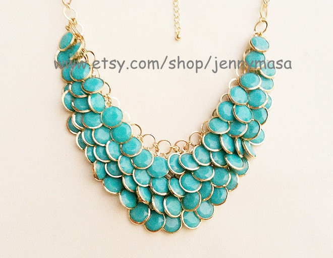 Turquoise Jewelry Wedding Necklace Bridesmaid Gift - Bubble Statement Necklace,Mermaid Necklace ,Turquoise necklace,beaded jewelry