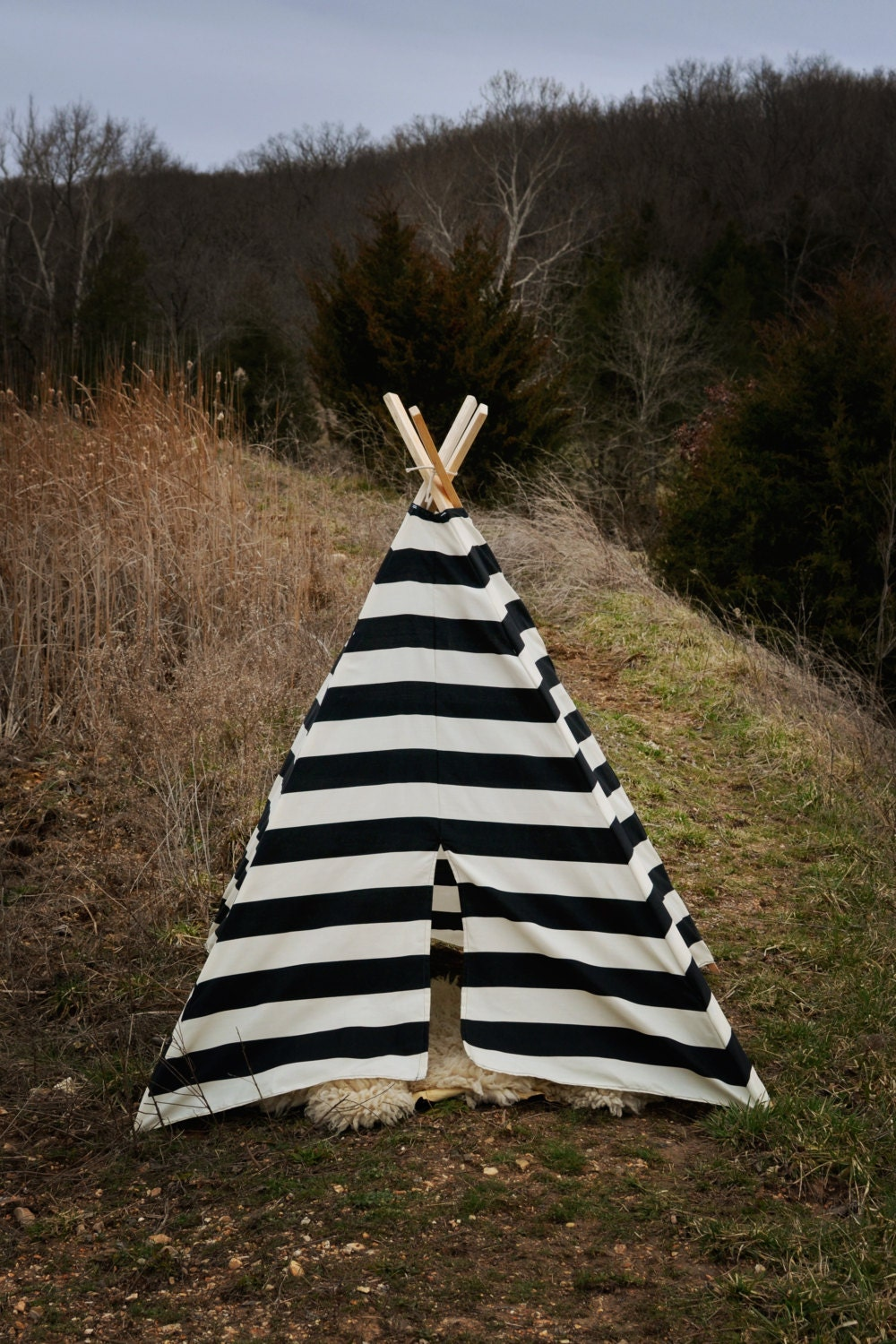 Teepee Play Tent - Children Toddler - Poles Included black and natural stripe - BElittleyouandme