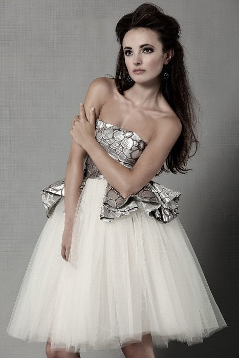 Silver Silk Brocade and Tulle Ballerina Dress