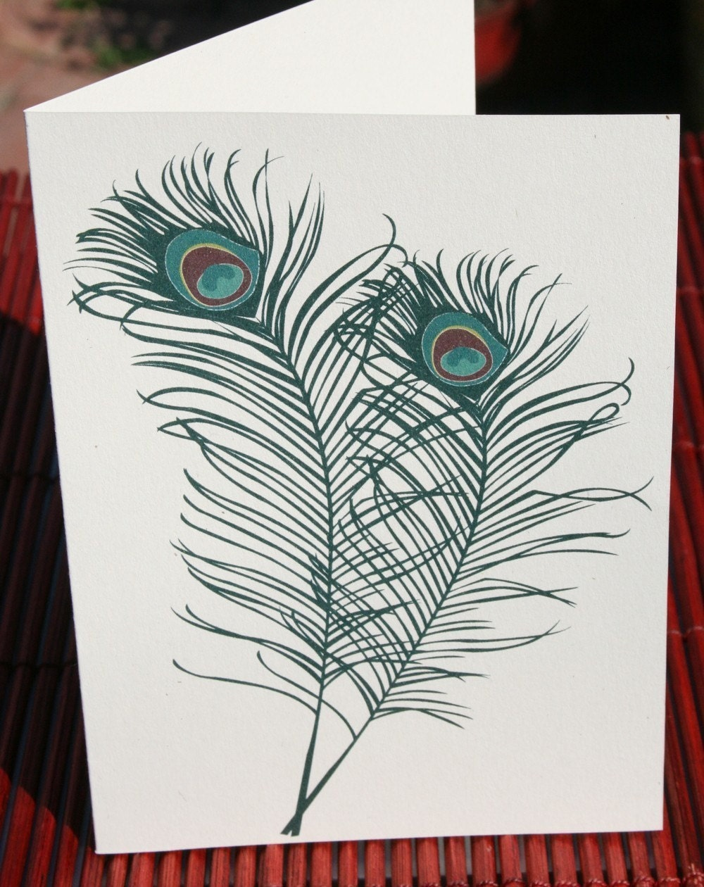Peacock Feather Note Card (set of 4)