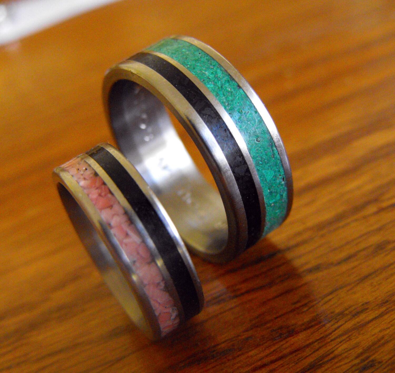 titanium wedding band set jet malachite and coral by