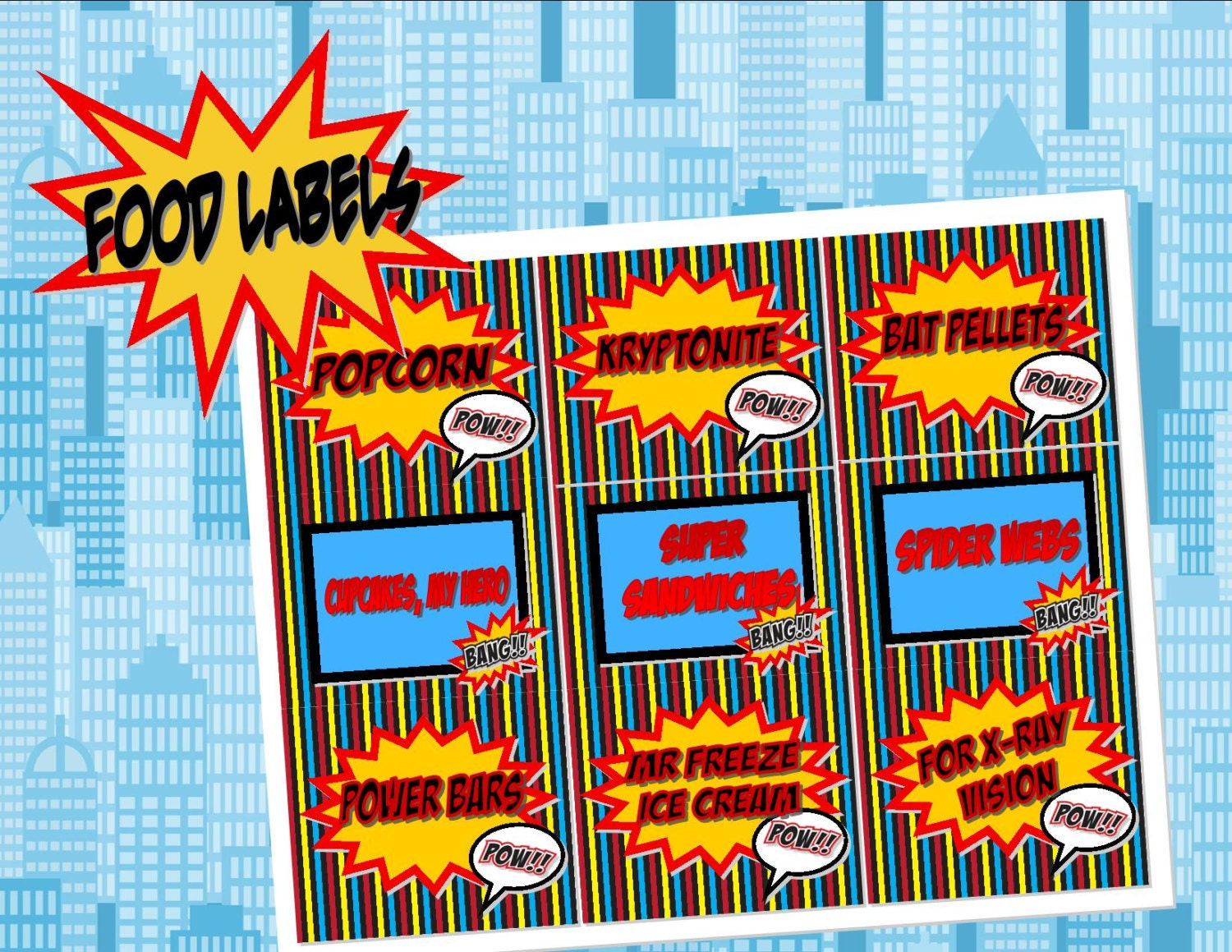 Super Hero Food Labels Place Cards