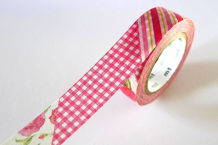 Vintage Style mt ex RED Stripe Gingham Floral Washi Tape 15mm Japanese Masking Tape - PrettyTape