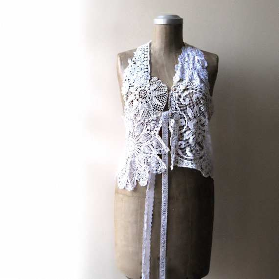 Antique Lace Vest, Waistcoat, Whites, Creams, Mother of Pearl, Applique, Rustic, Bohemian Gypsy - AllThingsPretty