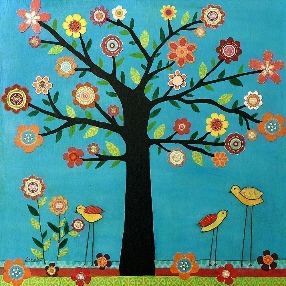 Sunshine - Retro Flower Bird Tree Painting Art Print on Wood