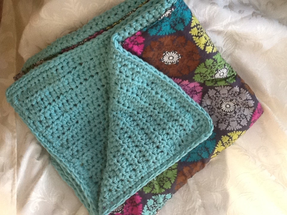 Double Sided Crochet Baby Blanket Pattern : Aqua Chunky Crochet Double Sided Baby Blanket by ...