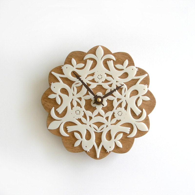 Unique handmade wooden clock with lace detail