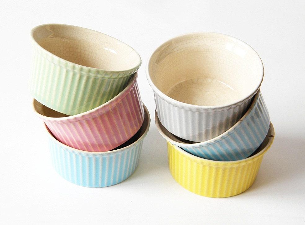 small bowls ramekins 6 vintage souffle dishes''' - thehopetree
