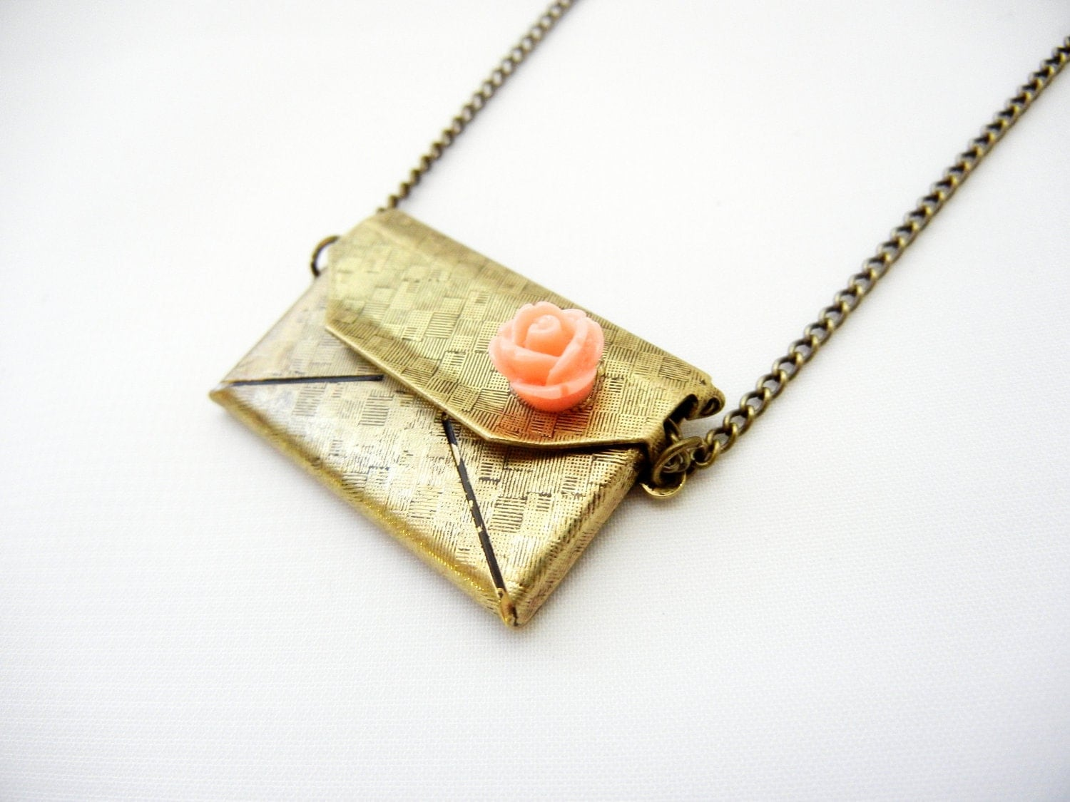 Love Letter Necklace Fully Openable Pink Resin Rose Surprise Hidden Heart Inside