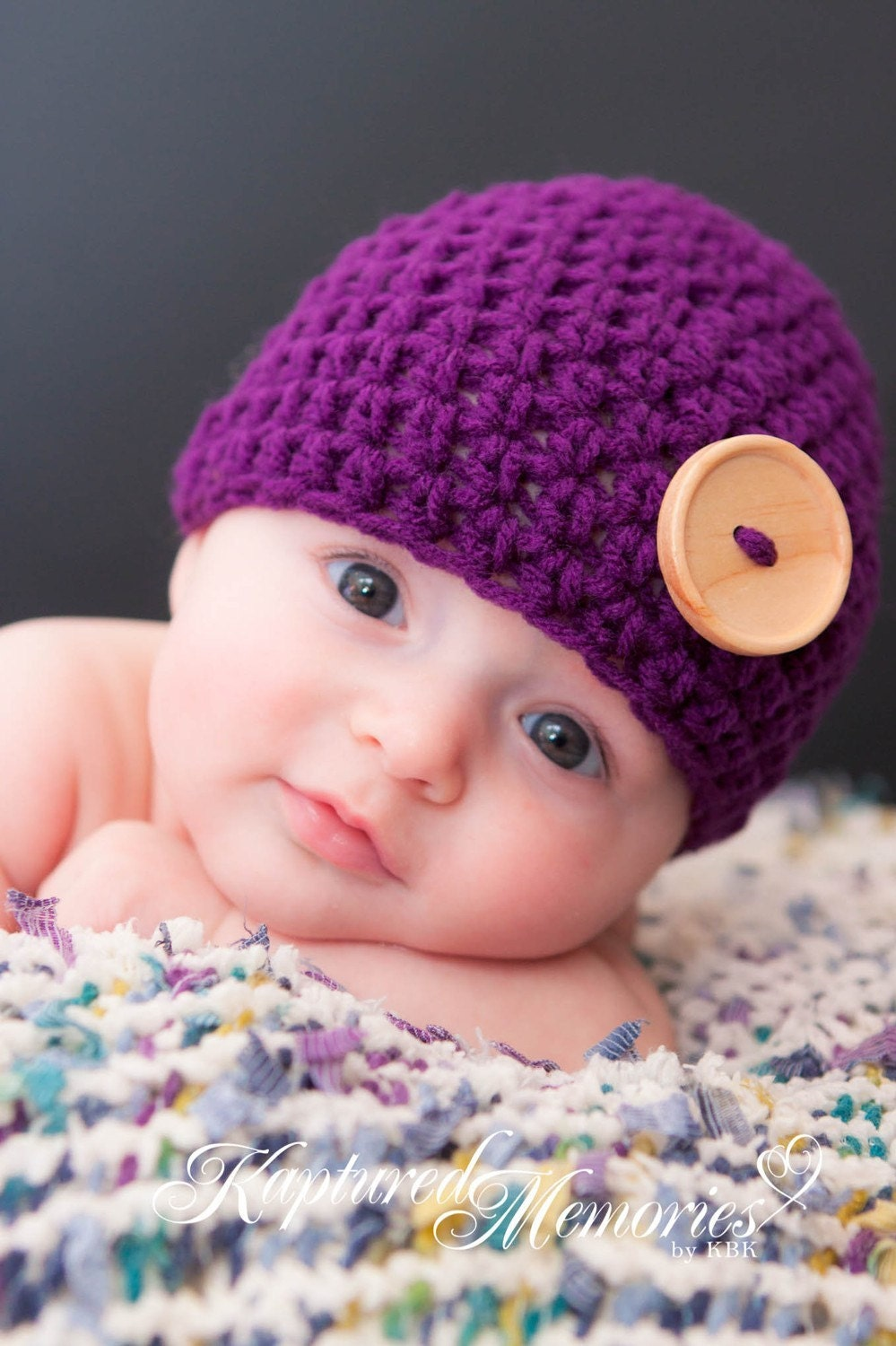 Little Bambino Newborn Button Beanie  - WILD ORCHID - Photography Prop