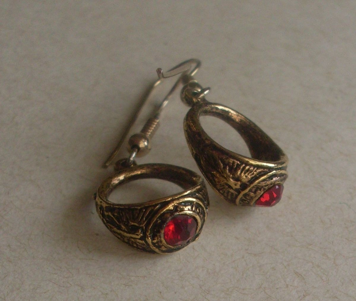 high school class ring earrings by spottedhens on etsy
