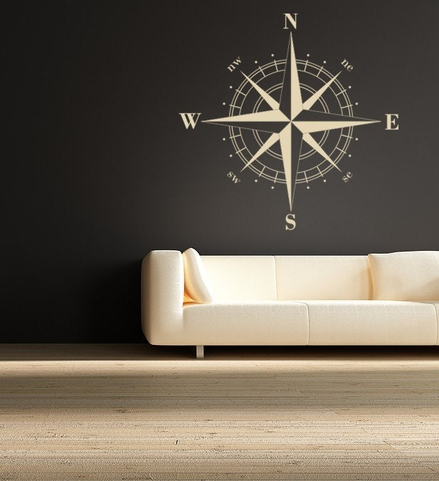 Nautical Compass Wall Decor : Compass rose nautical vinyl wall decal great by