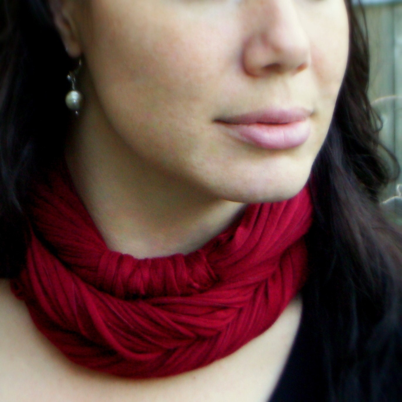 Cranberry Red Luxe NeckScape Port Wine  scarf cowl US Shipping Included