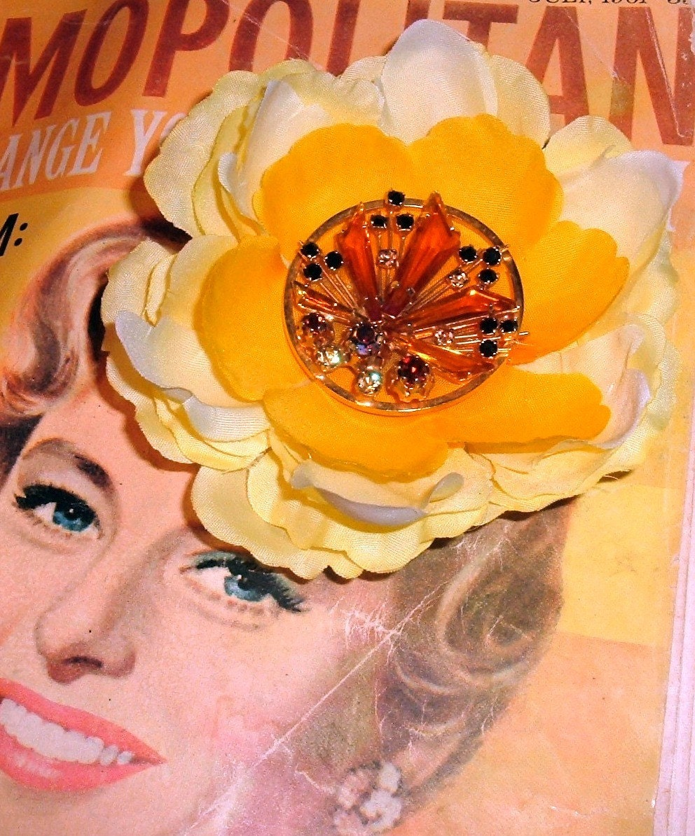 Yellow Peril ooak flower hair clip  reclaimed vintage rhinestone brooch centerpiece