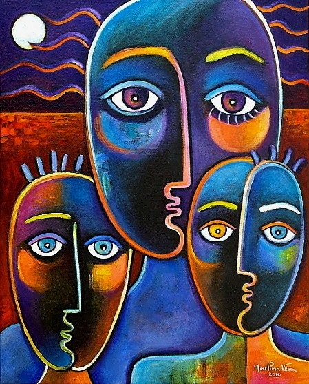 Original Oil painting Contemporary  Modern POP ART  Marlina Vera MOTHER 3