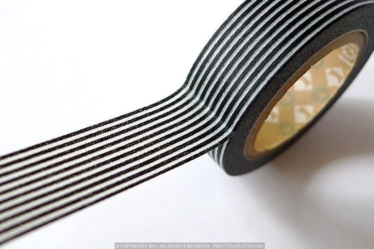 Japanese BLACK Stripes Washi Tape - Black and White Horizontal Lines 15mm MT - PrettyTape