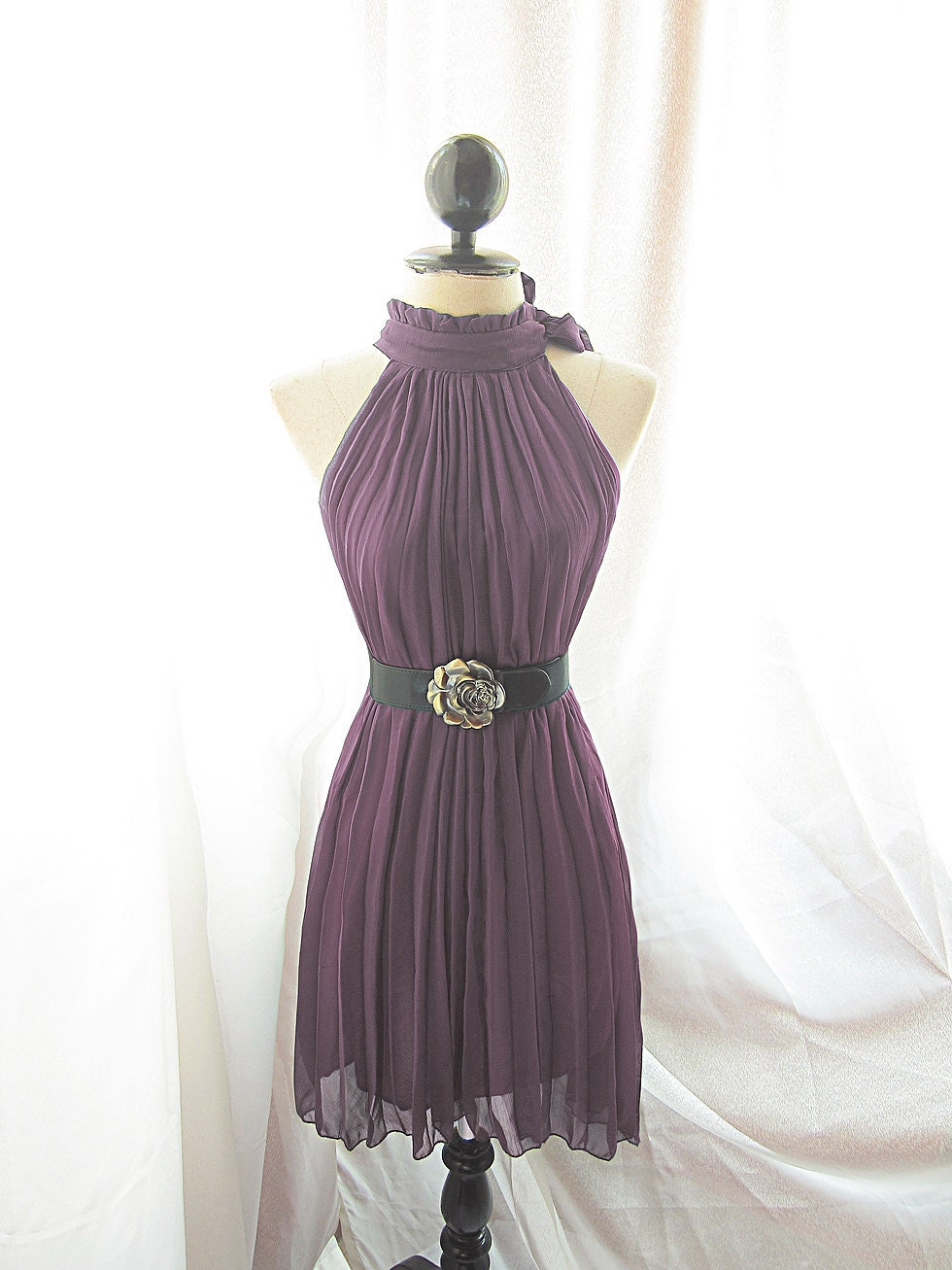 Classic Berry Plummy Mauvey Purple Plum Chantilly Havisham Romantic Chiffon Secret Garden Twilight Pleated Frolic Dress