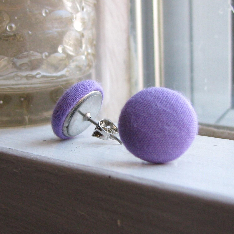 Lavender Button Stud Earrings