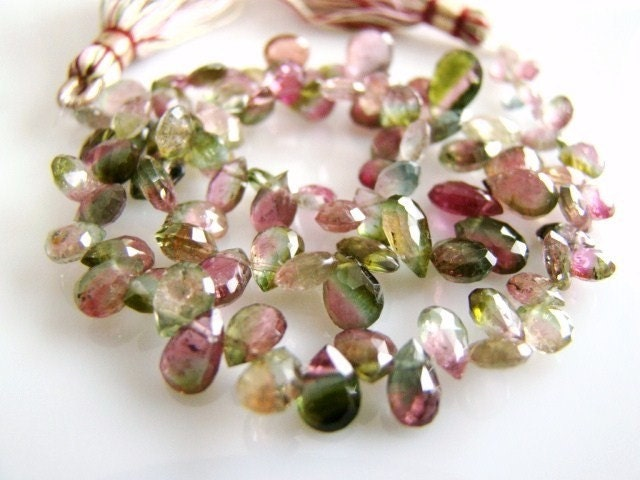 1/2 STRAND----Watermelon Tourmaline Transparent, Faceted Pear Briolettes---REDUCED FROM 42.99