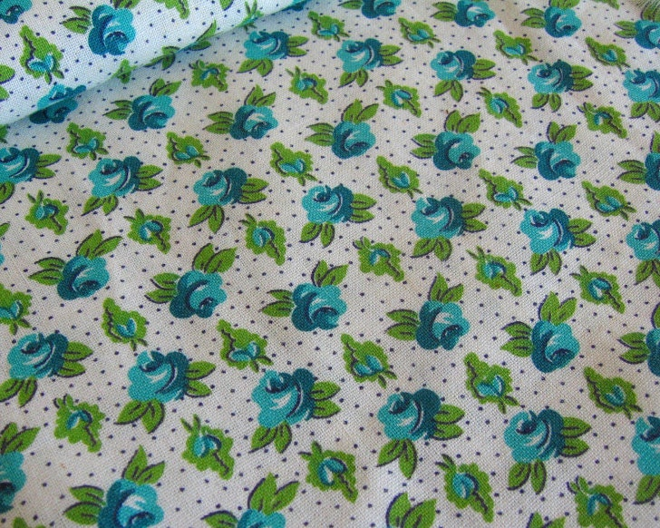 Vintage Cotton Blue Rose Fabric - 1 yard