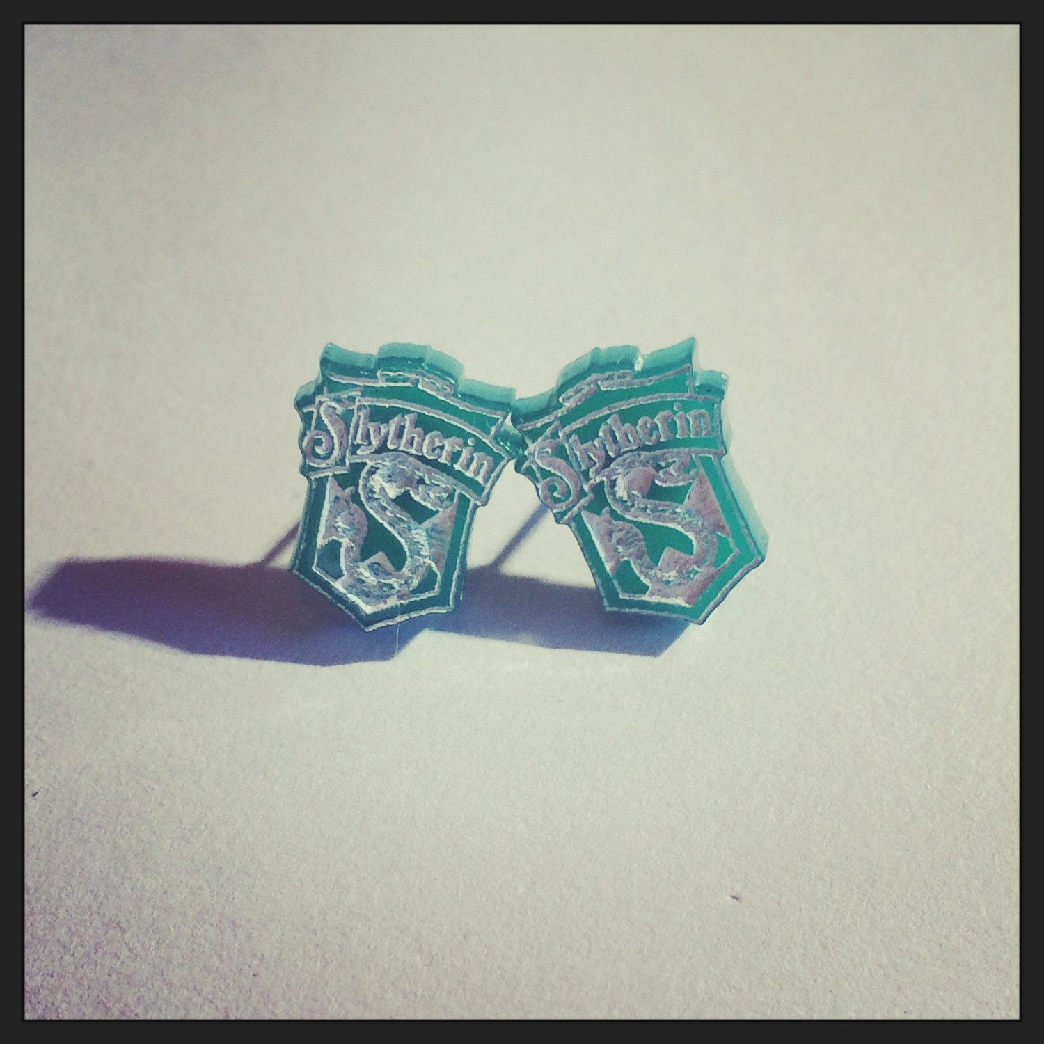 Harry Potter Slytherin Hogwarts Inspired House Badge Earrings