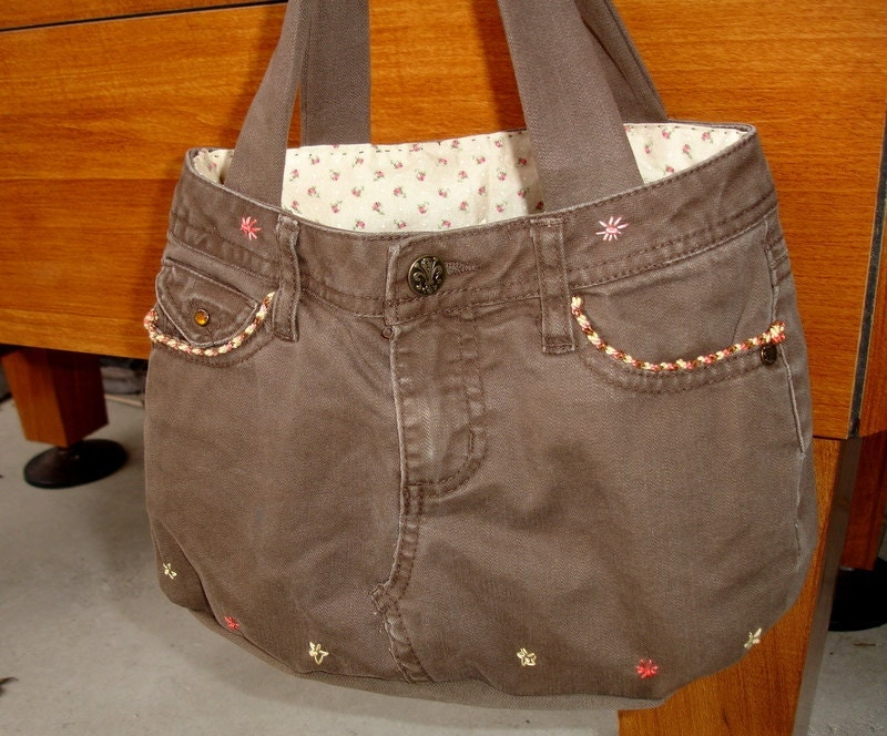 Girls Brown Jean Purse, Upcycled  Brown Denim, teens, girls, small handbag,