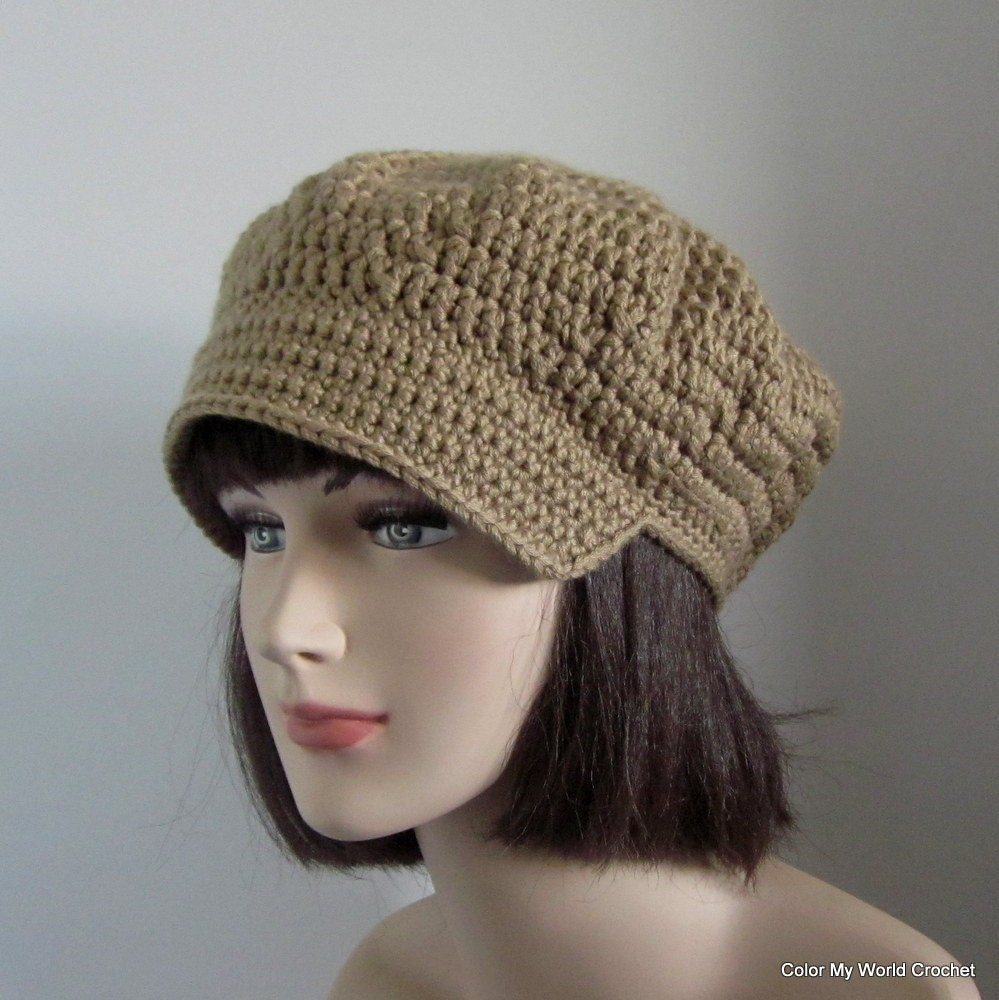 Newsboy Cap Womens Crochet Hat Tan by ColorMyWorldCrochet
