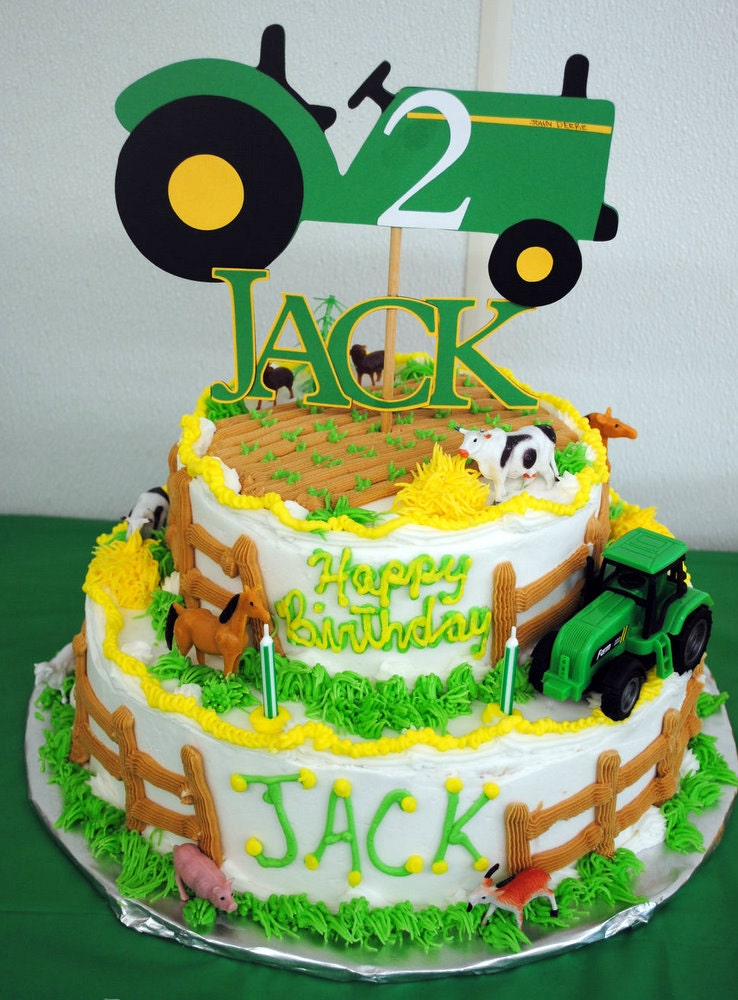 Items similar to John Deer Tractor Cake Topper - Fully ...