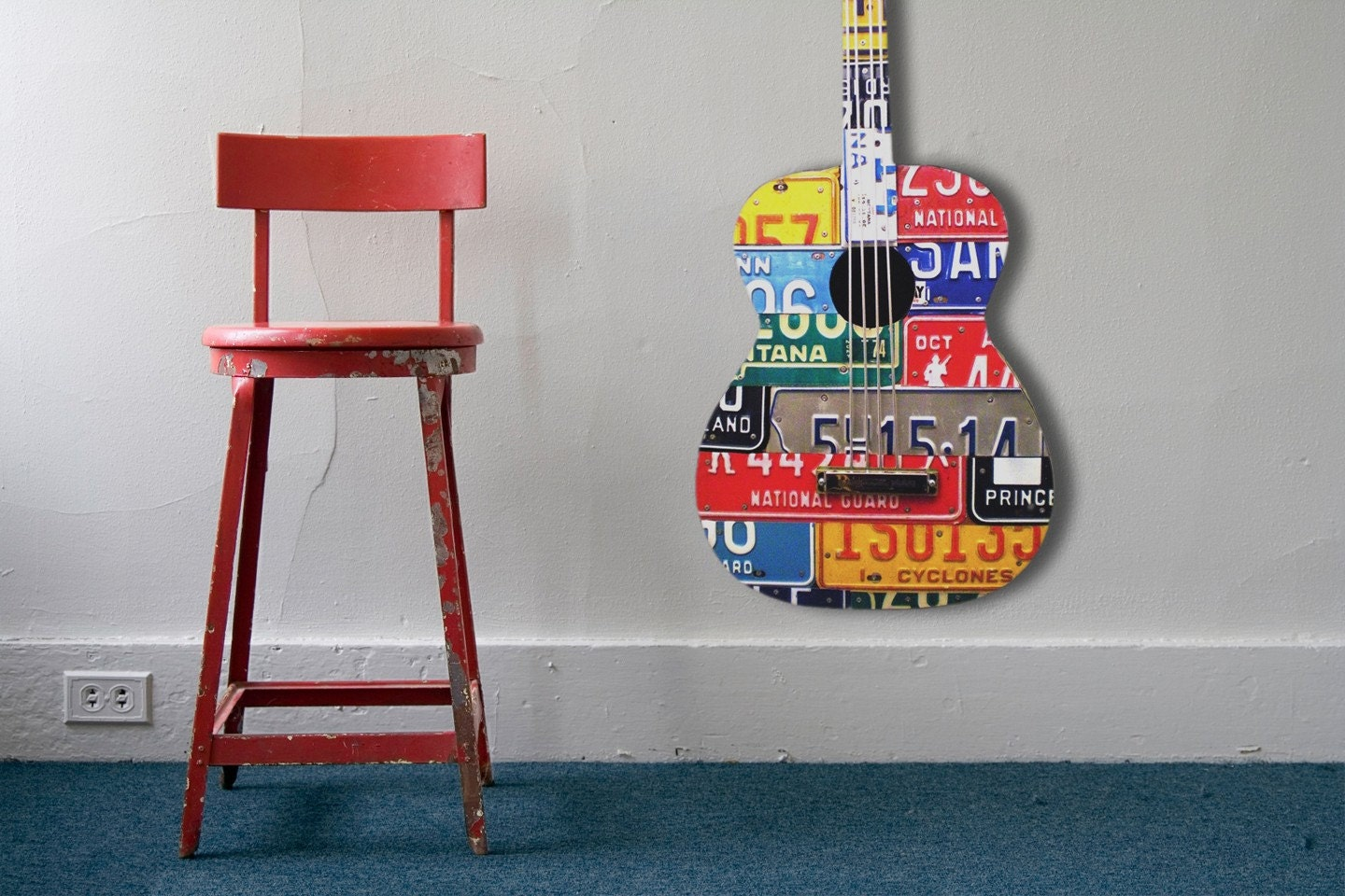 Recycled License Plate Guitar