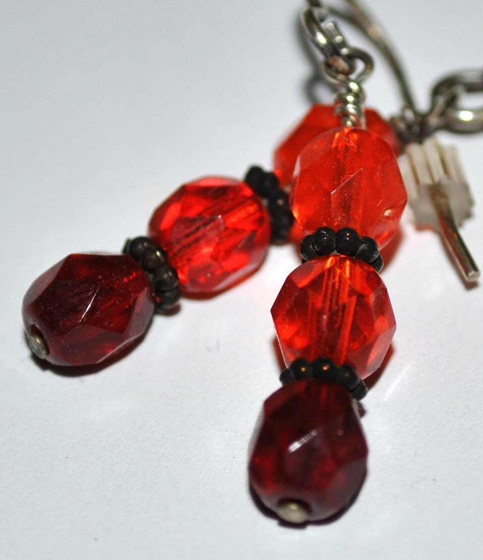 Reds and Orange Czech Glass Earrings