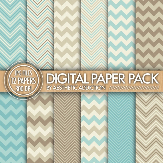 Chevron Digital Paper Pack - Blue Brown Tan Beige - Chevron Zig Zag Lines - Commercial Use - 12428 - aestheticaddiction