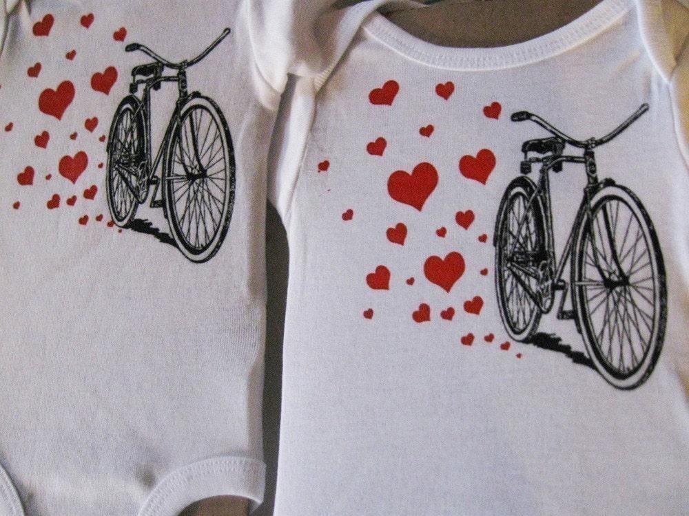 SALE - screenprinted bicycle onesie for boys or girls