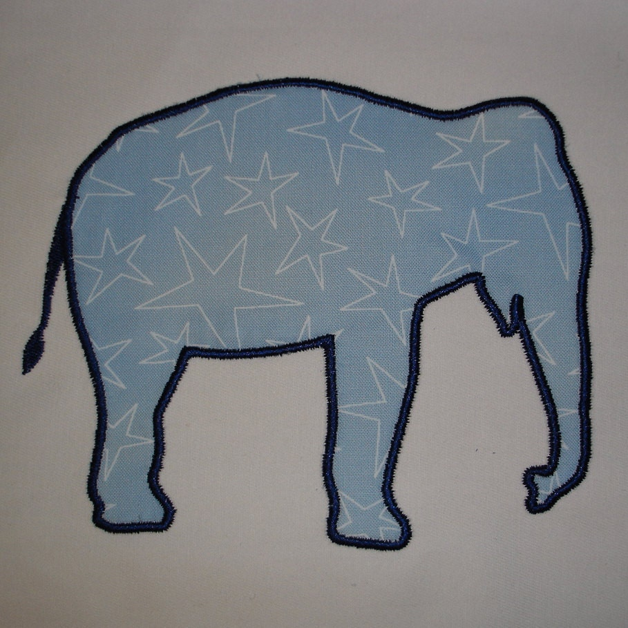 Elephant Applique - Machine Embroidery Design 4X4 and 5X7 Hoop