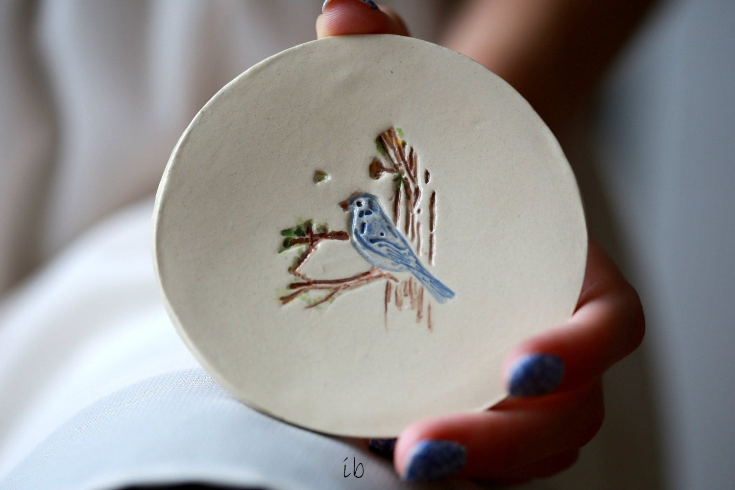 Valentine's Day Ceramic Jewelry Dish White  Little Blue Bird Dish Colorful Home Decor Pottery Plate Recycled Box - Ceraminic