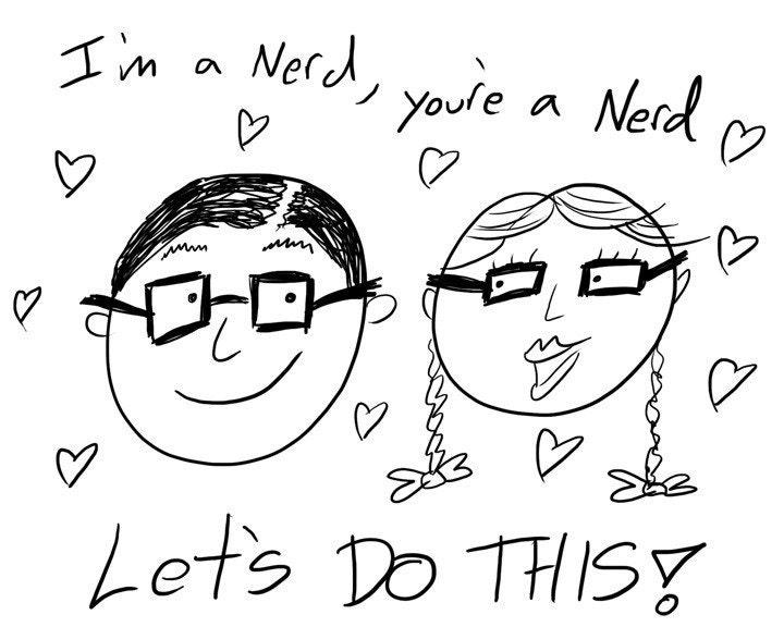Nerd Nerd Nerd Nerd Nerd Nerd-Hand Drawn Nerdy Greeting Card