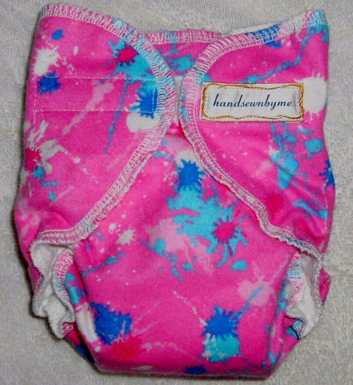 handsewnbyme 1 Fitted Cloth Diaper Approx. Newborn  - 10 lbs Paint Splish Splash On Bubble Gum Pink