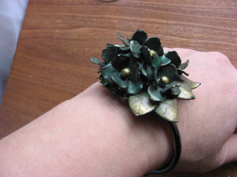 Greenn and gold huge flower brooch bracelet ooak